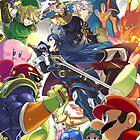 Super Smash Bros - Lucina, Robin, Pikachu, Mario, Luigi, Megaman, Captain Falcon, Kirby, Link, Peach, Charizard by nehetaki