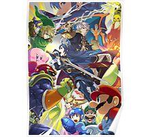 Super Smash Bros - Lucina, Robin, Pikachu, Mario, Luigi, Megaman, Captain Falcon, Kirby, Link, Peach, Charizard Poster
