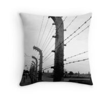 Barbed wire fence ( Birkenau ) Throw Pillow