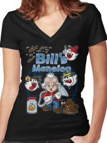 Bill's Mansion Women's Fitted V-Neck T-Shirt