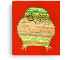 Colourful owl linework stripey Canvas Print