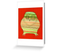 Colourful owl linework stripey Greeting Card