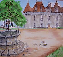 (watercolour )               Chateau in the Dordogne. by Irene  Burdell