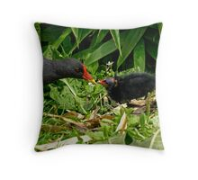 Feeding her chick! Throw Pillow