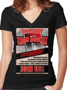 Pokemon - Team Rocket Recruitment Women's Fitted V-Neck T-Shirt