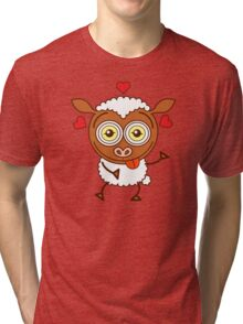 Crazy sheep feeling lucky in love Tri-blend T-Shirt