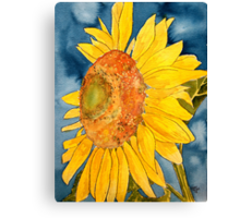 macro sunflower watercolor painting Canvas Print