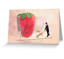 the strawberry seed-sticker Greeting Card