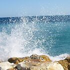 Sea splashing against the rocks at Nice, France by CorkDayDreamer
