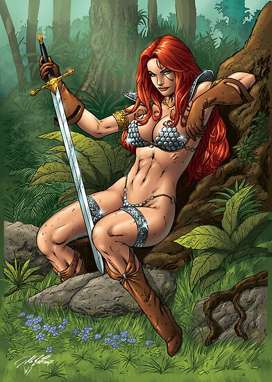 Redhead Warrior. Waiting, resting. by alrioart