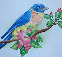 Bluebird Perched Amongst Flowers by Tina Gong