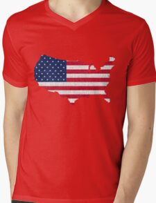 American Flag and Map Mens V-Neck T-Shirt