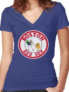 Boston red sox Adventure time Women's Fitted V-Neck T-Shirt