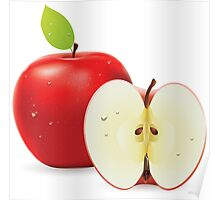 Red apple and half of apple Poster