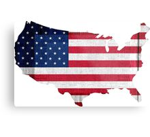 American Flag and Map Metal Print