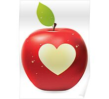 Heart bite red apple Poster