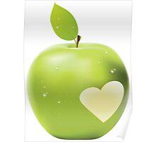 Heart bite green apple Poster