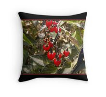 Bright Red Berries Throw Pillow