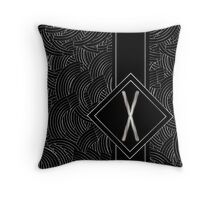 1920s Jazz Deco Swing Monogram black & silver letter X Throw Pillow
