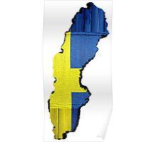 Sweden Flag Map Poster