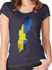 Sweden Flag Map Women's Fitted Scoop T-Shirt