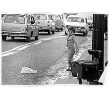 """Collector, On the Way to M.Cartier Bresson """"  Matador cars ! dangerous games Gamin ..! """" Paris 1975 15 (b&n)(t) by Olao-Olavia par Okaio Création  Poster"""