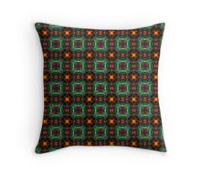 Mystic orange and emerald pattern Throw Pillow