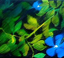Periwinkles in the breeze by Connie  Danaher