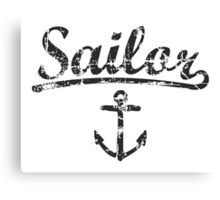 Sailor Anchor Vintage Black  Canvas Print