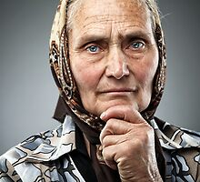Old Romanian woman with kerchief by naturalis