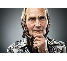 Old Romanian woman with kerchief Photographic Print