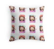 Sassy Hula Girl Emoji Pattern Throw Pillow