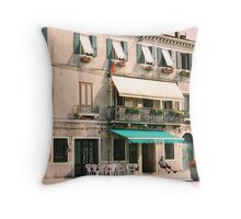 Waiting for customers in Venice, Italy Throw Pillow