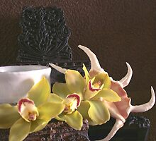 Still life with Japanese tea cup, orchids and sheashell by PAOLA MARINANGELI