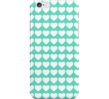 White Hearts on Tiffany Aqua Blue iPhone Case/Skin