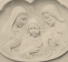 Jesus As A Young Boy With Mary and Joseph by Marie Sharp