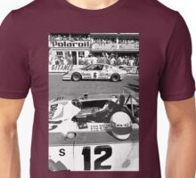 car : The moment of magic starting in Black and White, Le Mans 1975 collector 7  (c)(h) by Olao-Olavia / Okaio Créations Unisex T-Shirt