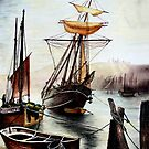 (This is not my painting) Schooner and Drifter at Whitby by Colin Cartwright