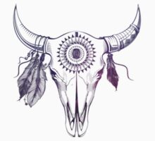 Pink Rose Bull Skull by ohdeer
