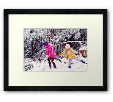 Snow Fight Framed Print