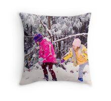 Snow Fight Throw Pillow