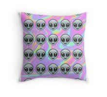 Alien Emoji Holographic Effect  Throw Pillow