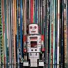 Vintage Toy Robot and Vinyl Records by Iheartrecords