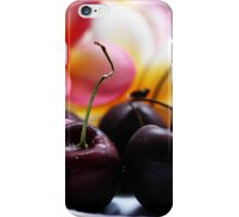 Cherries & Pink Frangipanies - Still Life iPhone Case/Skin