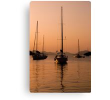 Yachting at sunset Canvas Print