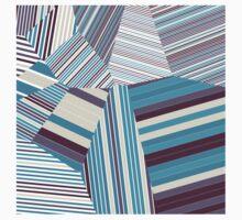 Skycraper Blues - Voronoi Stripes One Piece - Short Sleeve