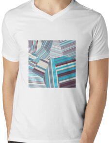 Skycraper Blues - Voronoi Stripes Mens V-Neck T-Shirt