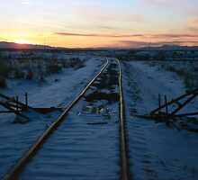Old Tracks into Winter Sunset (1) by SteveOhlsen