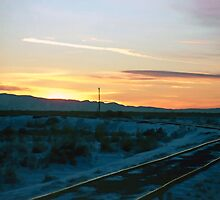 Old Tracks into Winter Sunset (2) by SteveOhlsen