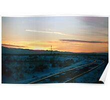 Old Tracks into Winter Sunset (2) Poster